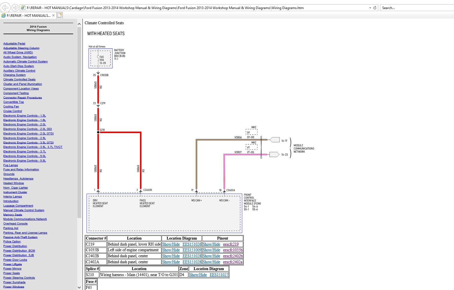 Ford Fusion 2013-2014 Workshop Manual  U0026 Wiring Diagrams - Homepage