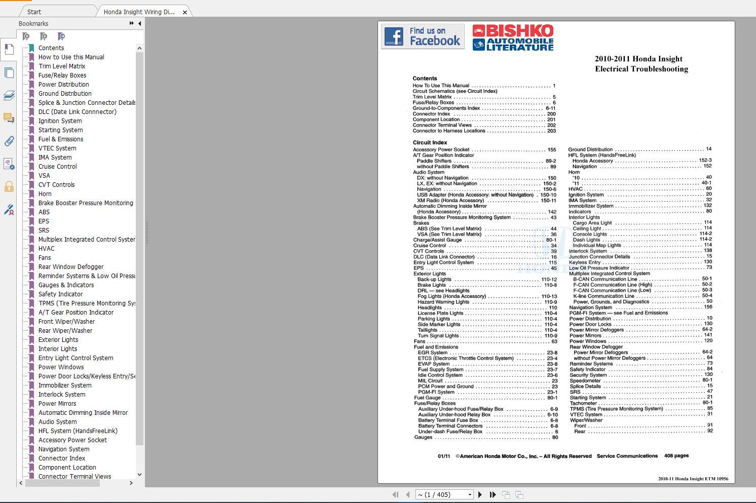 Honda Insight 2011 Service Manual  U0026 Wiring Diagram - Homepage