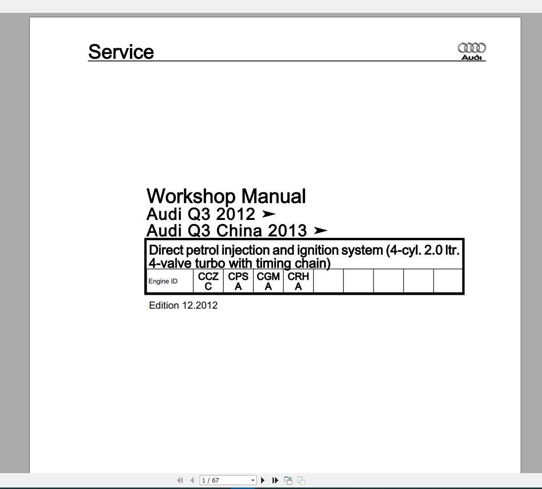 Audi Q3  Typ 8u  2011 U20132018 Workshop Manuals Wiring Diagrams - Homepage