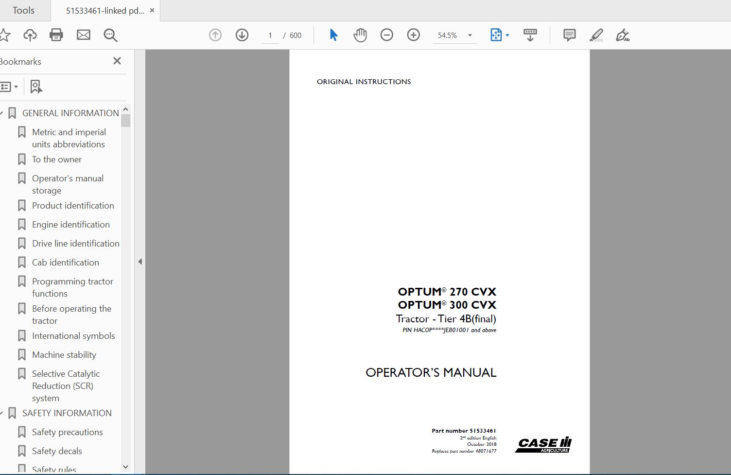 Case Ih Tractor Mccormick W4 Operator U0026 39 S Manual 1004211r2