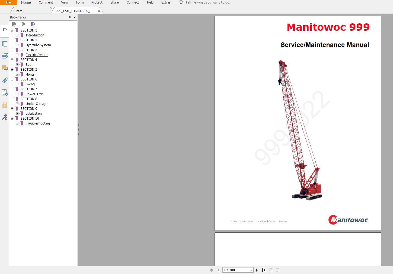 Manitowoc Crawler CranesPart Manual, Operator & Maintenance Manual, Service ManualDVD