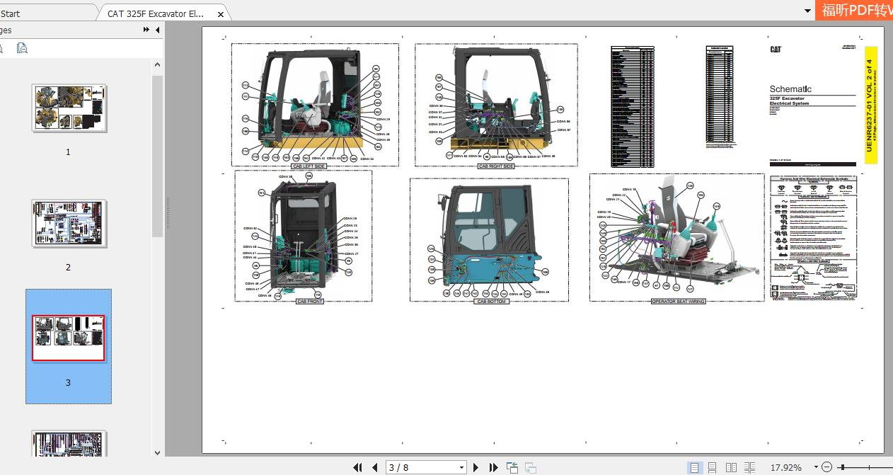 Cat 325f Excavator Electrical System Schematic Uenr6237