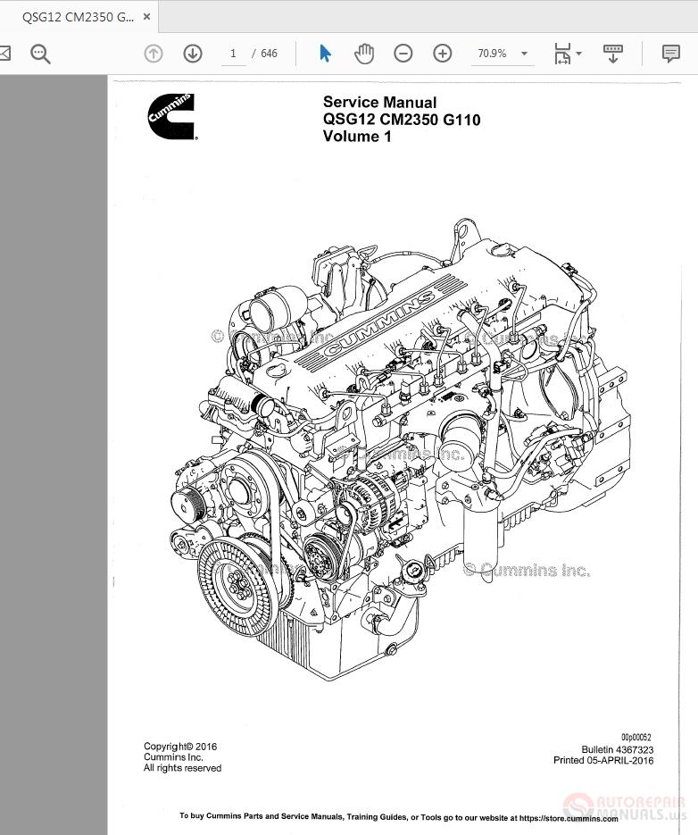 Cummins Qsg12 Cm2350 G110 Vol1 Engine Service Manual