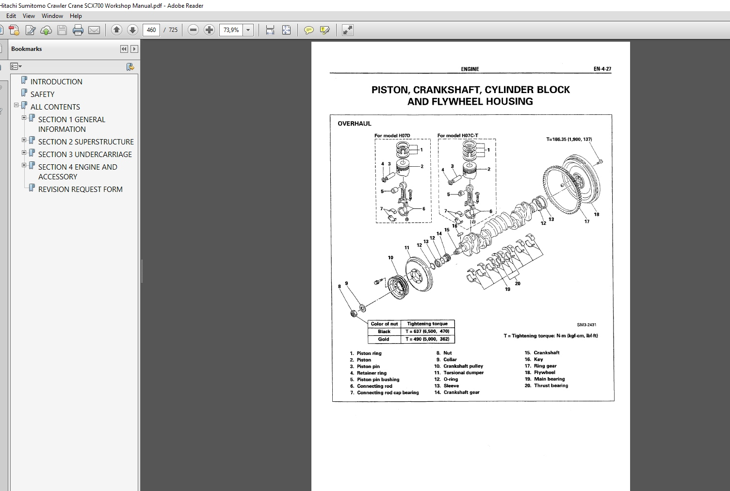 Hitachi Sumitomo Crawler Crane Scx700 Shop Manual  U0026 Parts