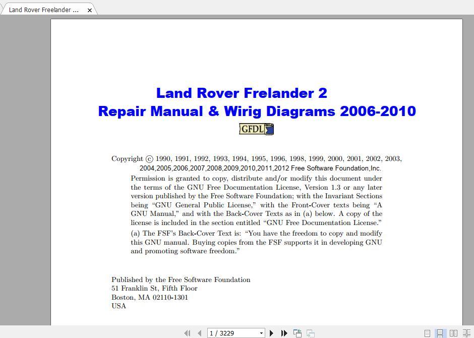 Land Rover Freelander Ii Repair Manual  U0026 Wiring Diagrams