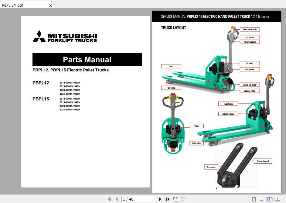 Mitsubishi_Forklift_PBPL12_PBPL15_Parts_Manual_1 Qsb Wiring Diagram on
