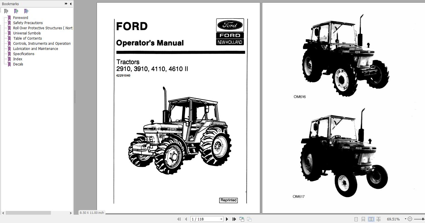 2910 ford tractor wiring diagram new holland ford 2910  3910  4110  4610 ii tractor operator s  new holland ford 2910  3910  4110  4610
