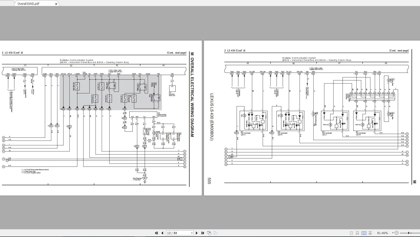 Lexus Ls430  2006   Usa  Electrical Wiring Diagram
