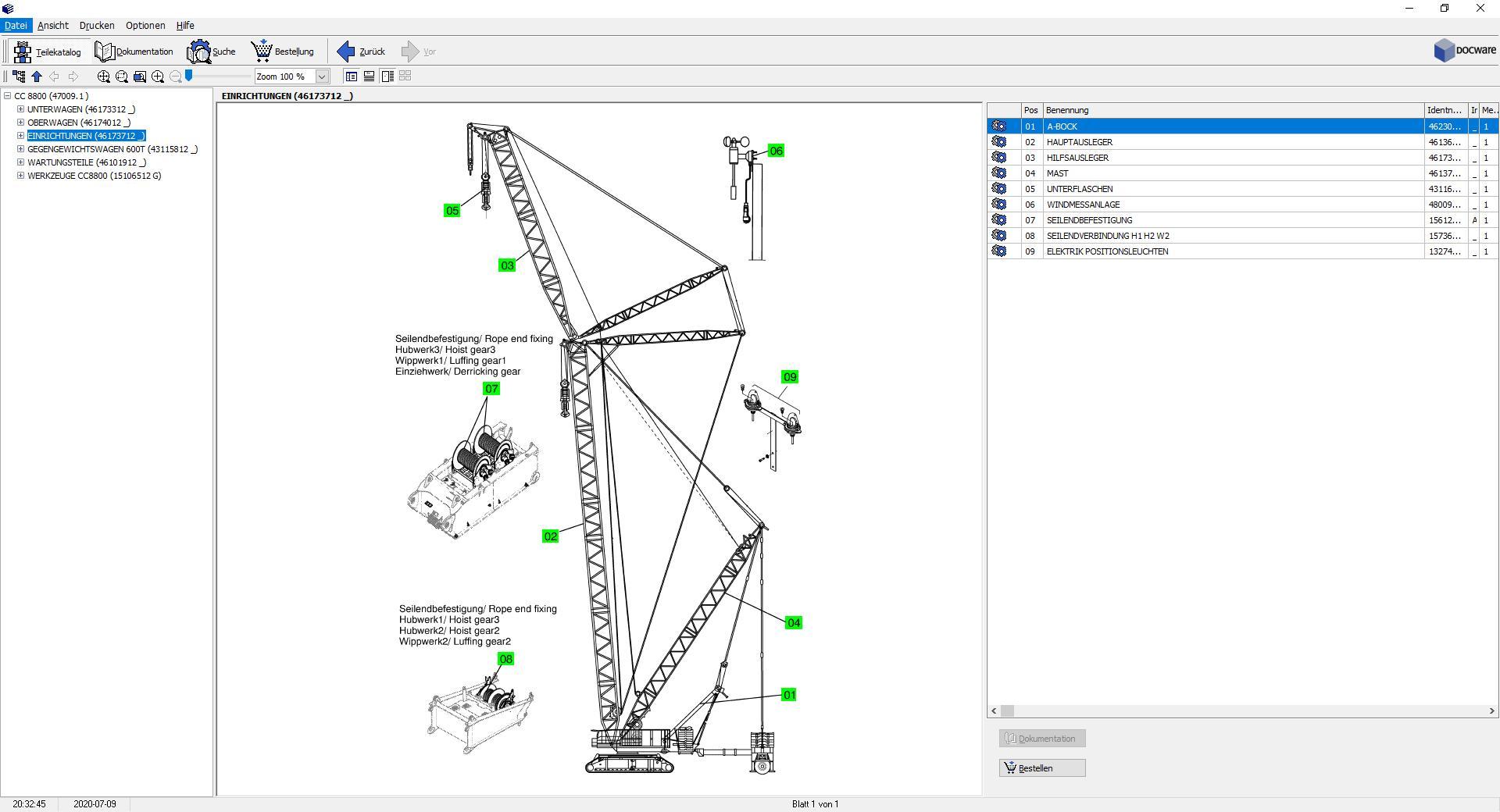 Terex Crawler Crane CC8800 Electronic Spare Part Catalogues_DE