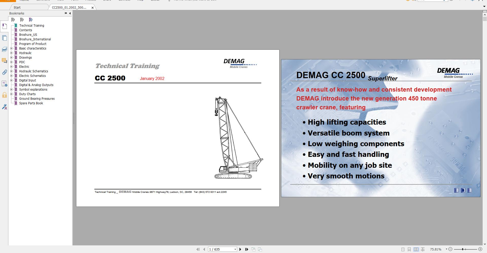 Terex Demag Crawler Crane 250-1250t Technical Service Training Manual Diagram - Homepage