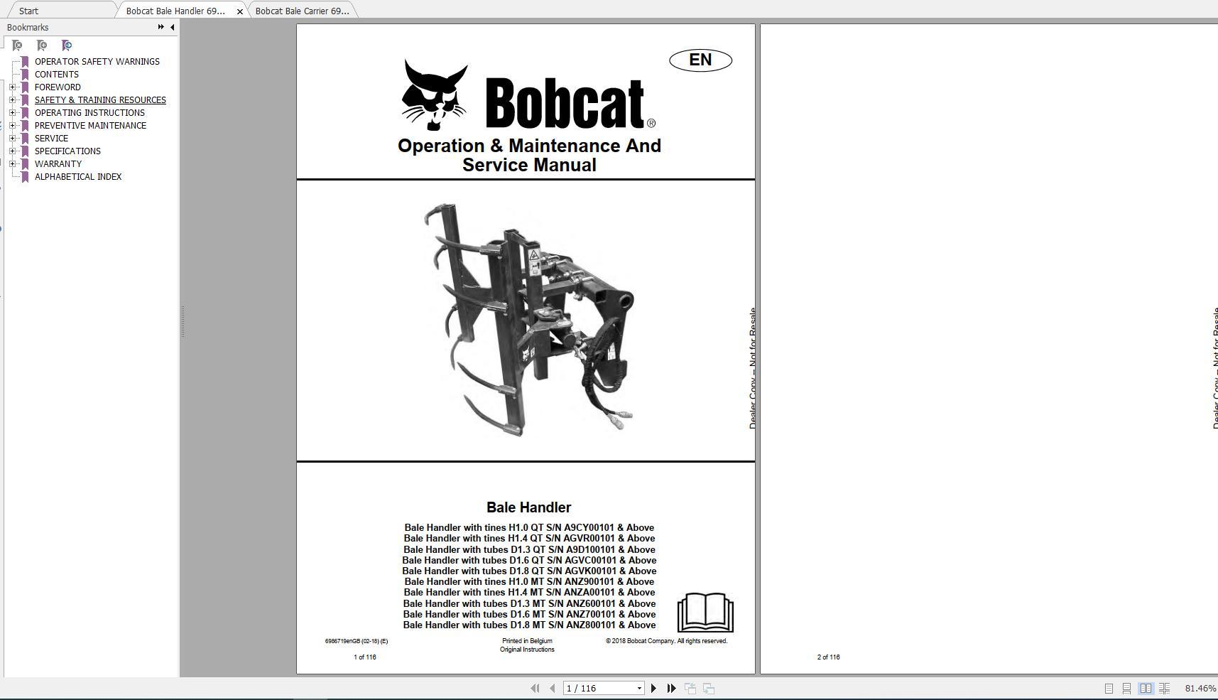 Bobcat Digger Operation  U0026 Maintenance Manuals