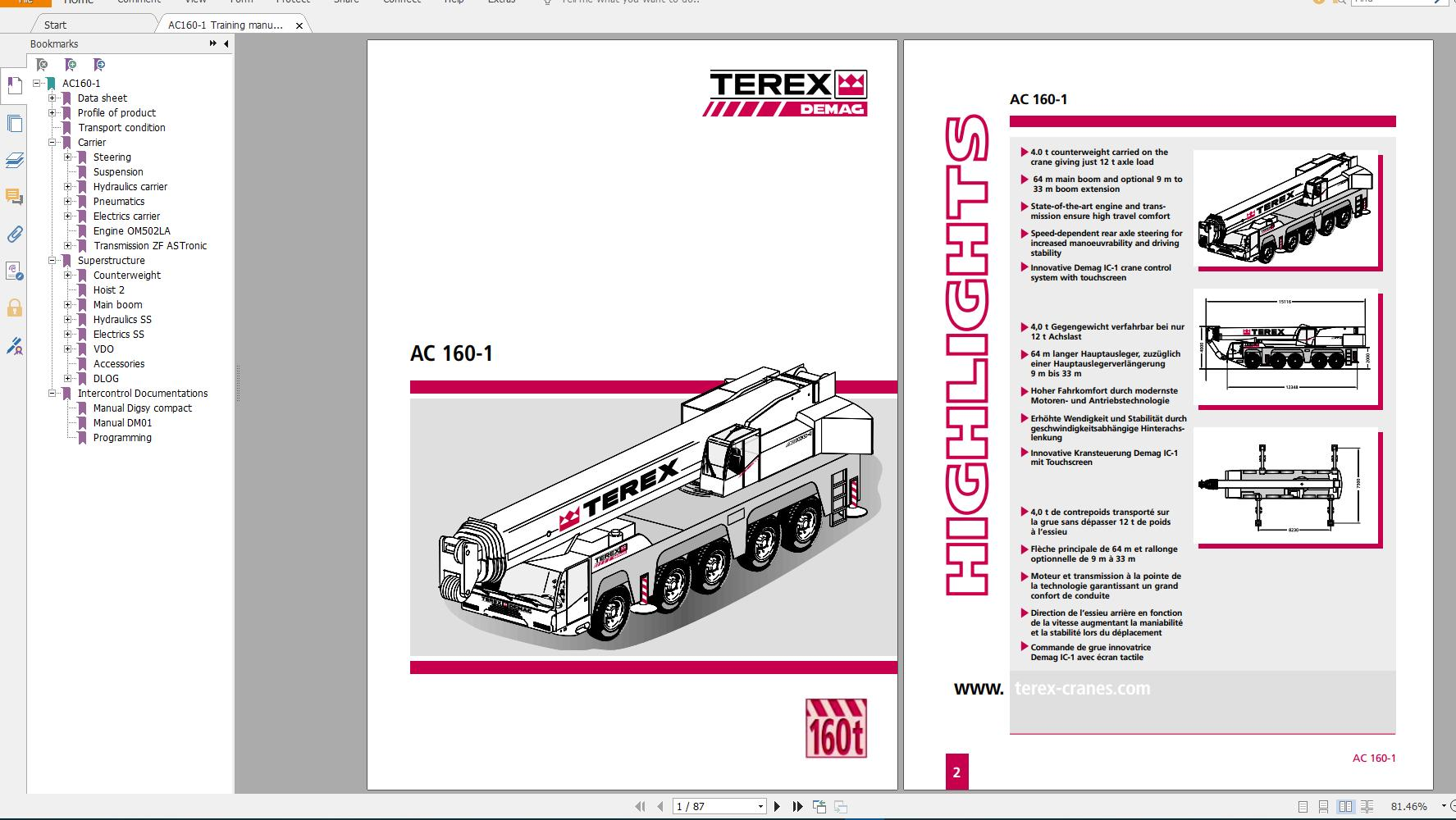 Terex Demag Mobile Crane AC160-1 180 ton Technical Manual, Operator Manual and Schematic