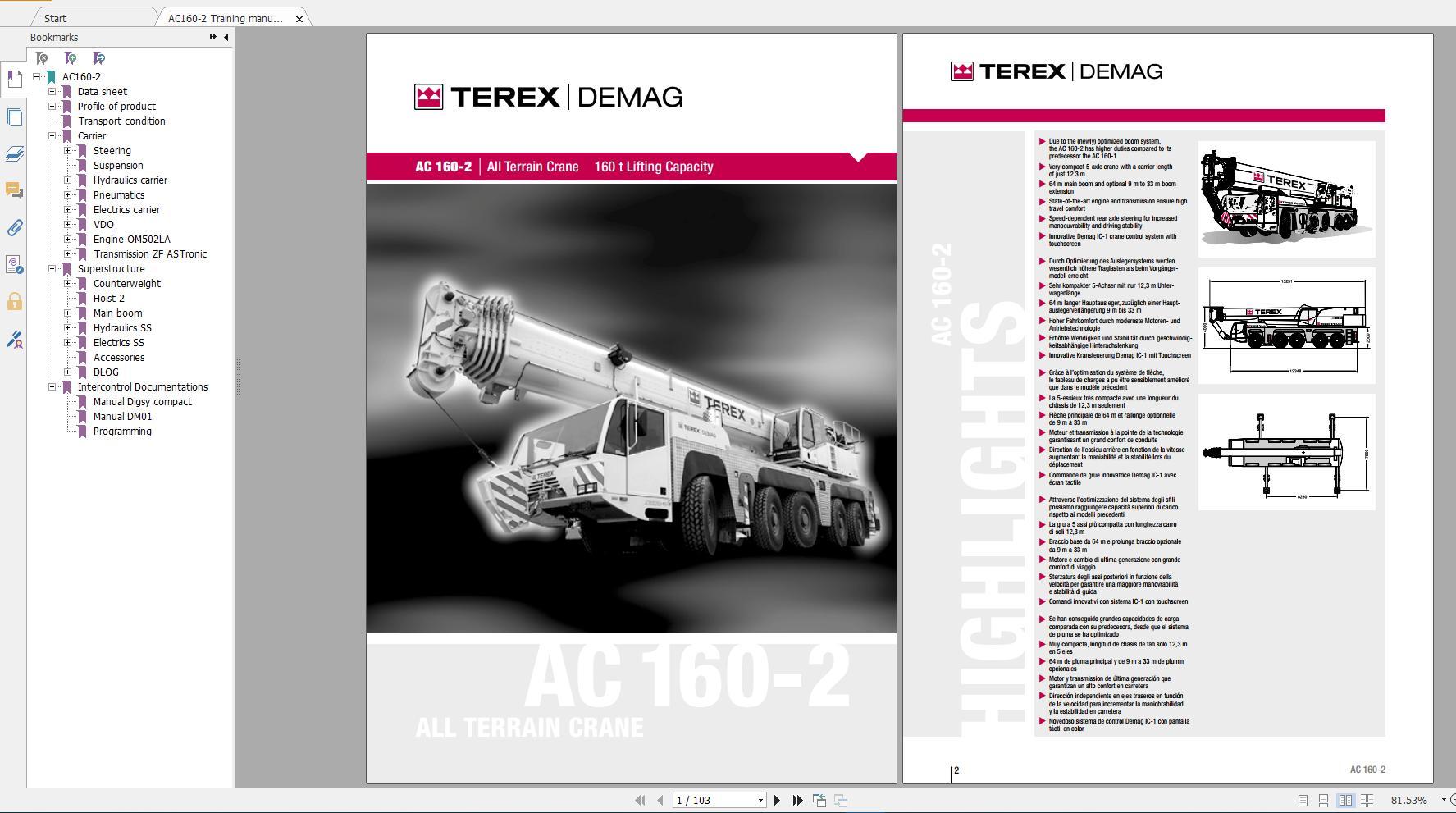 Terex Demag Mobile Crane AC160-2 180 ton Technical Manual, Operator Manual
