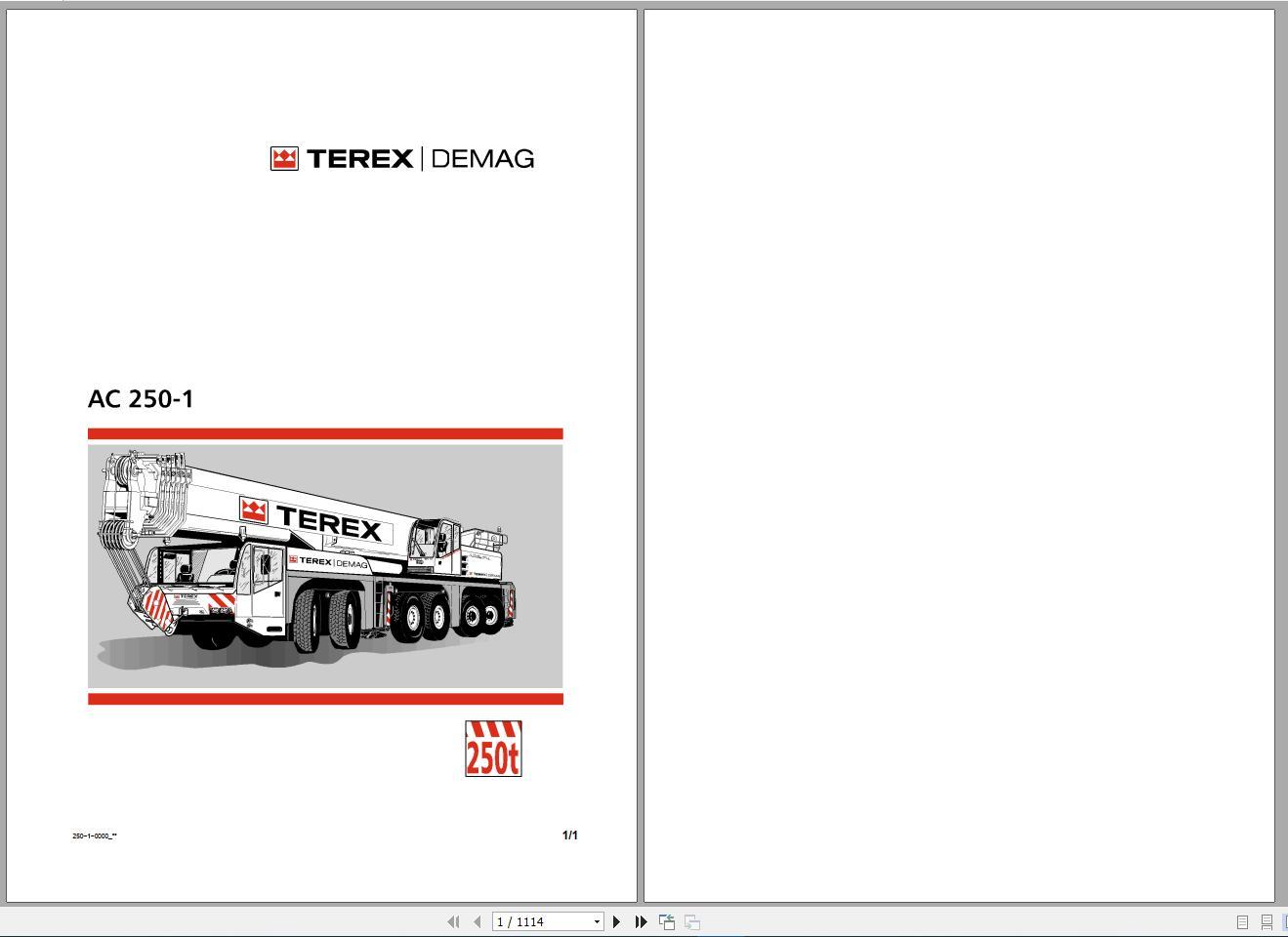 Terex Demag Mobile Crane AC250-1 300 ton Technical Manual, Operator Manual