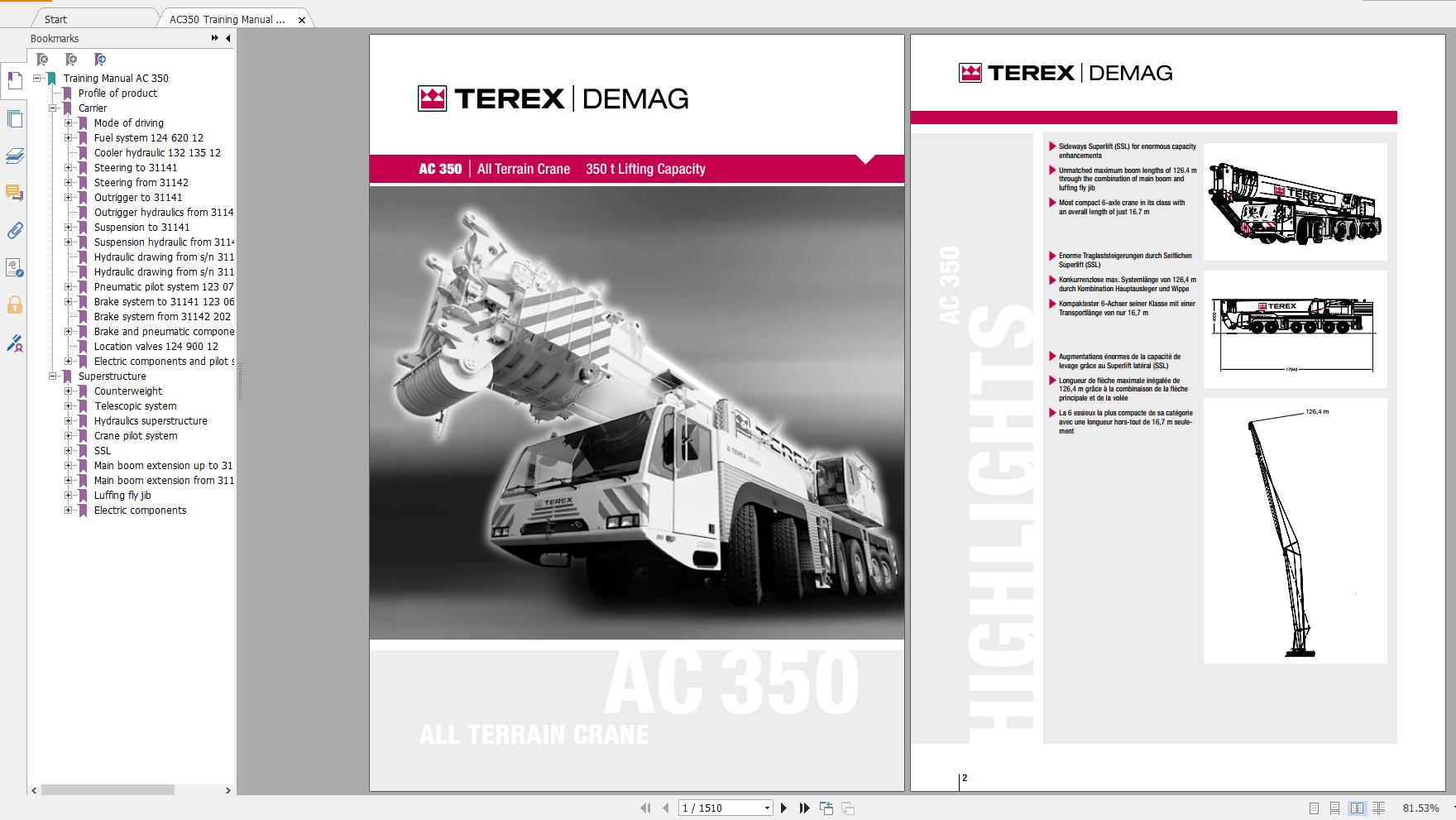 Terex Demag Mobile Crane AC350 400 ton Technical Manual, Operator Manual
