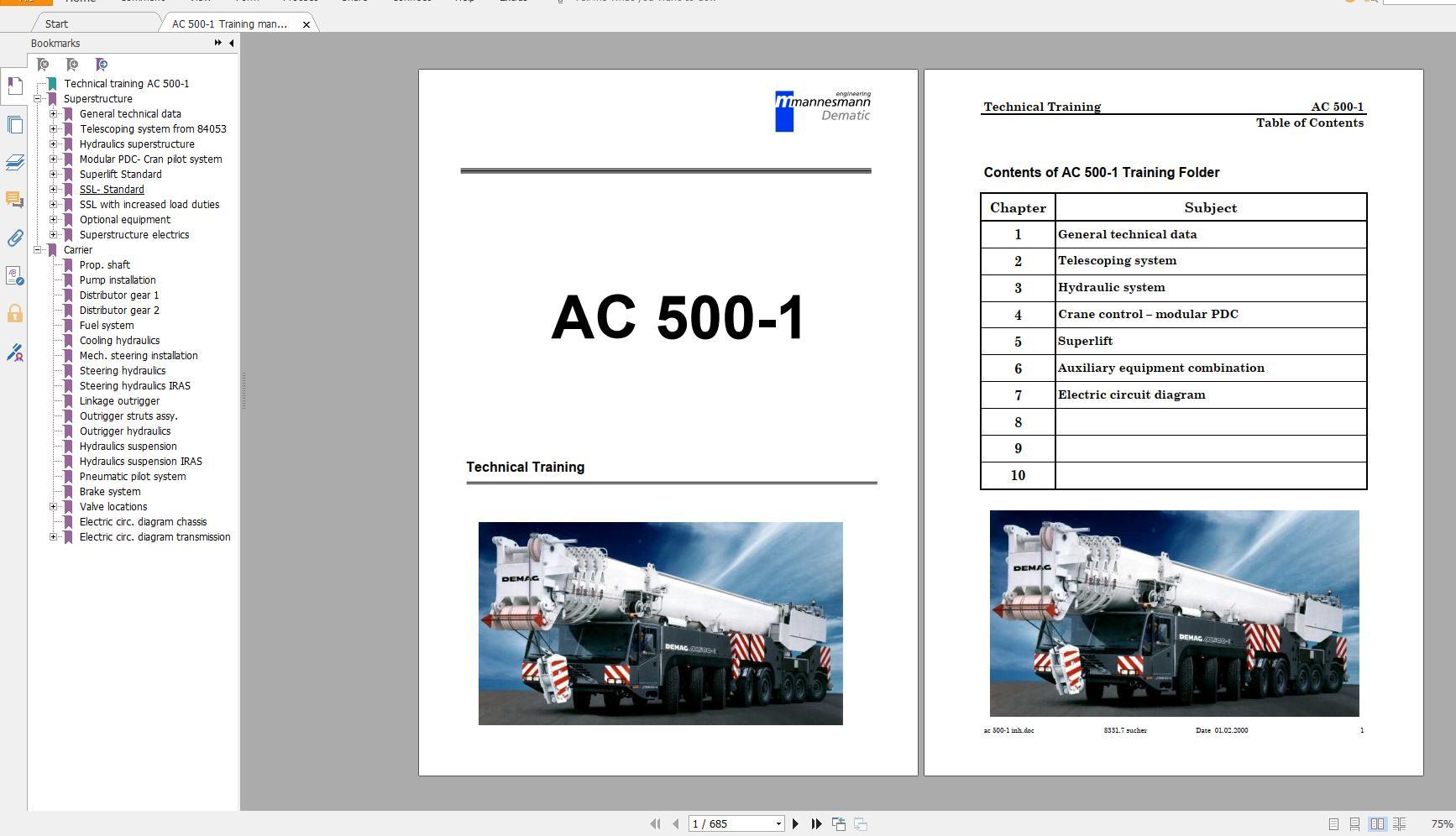 Terex Demag Mobile Crane AC500-1 500 ton Technical Manual, Operator Manual