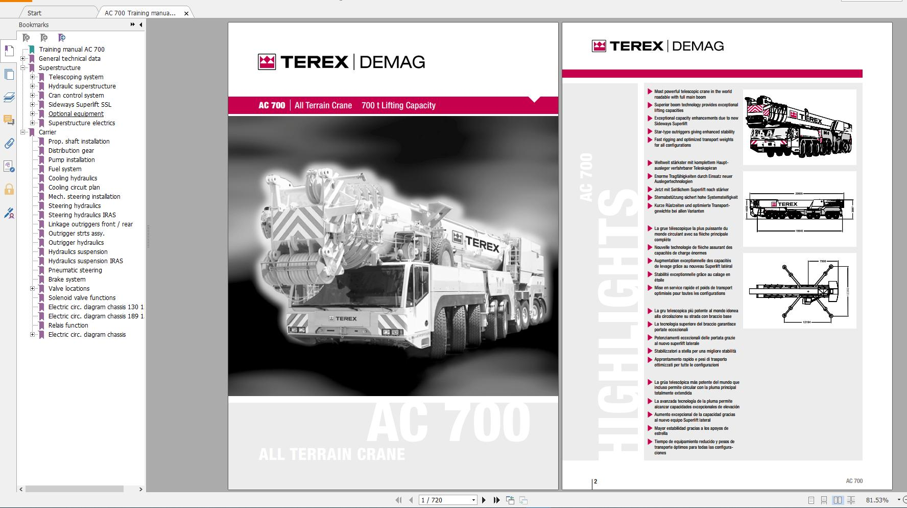 Terex Demag Mobile Crane AC700 700 ton Technical Manual, Operator Manual