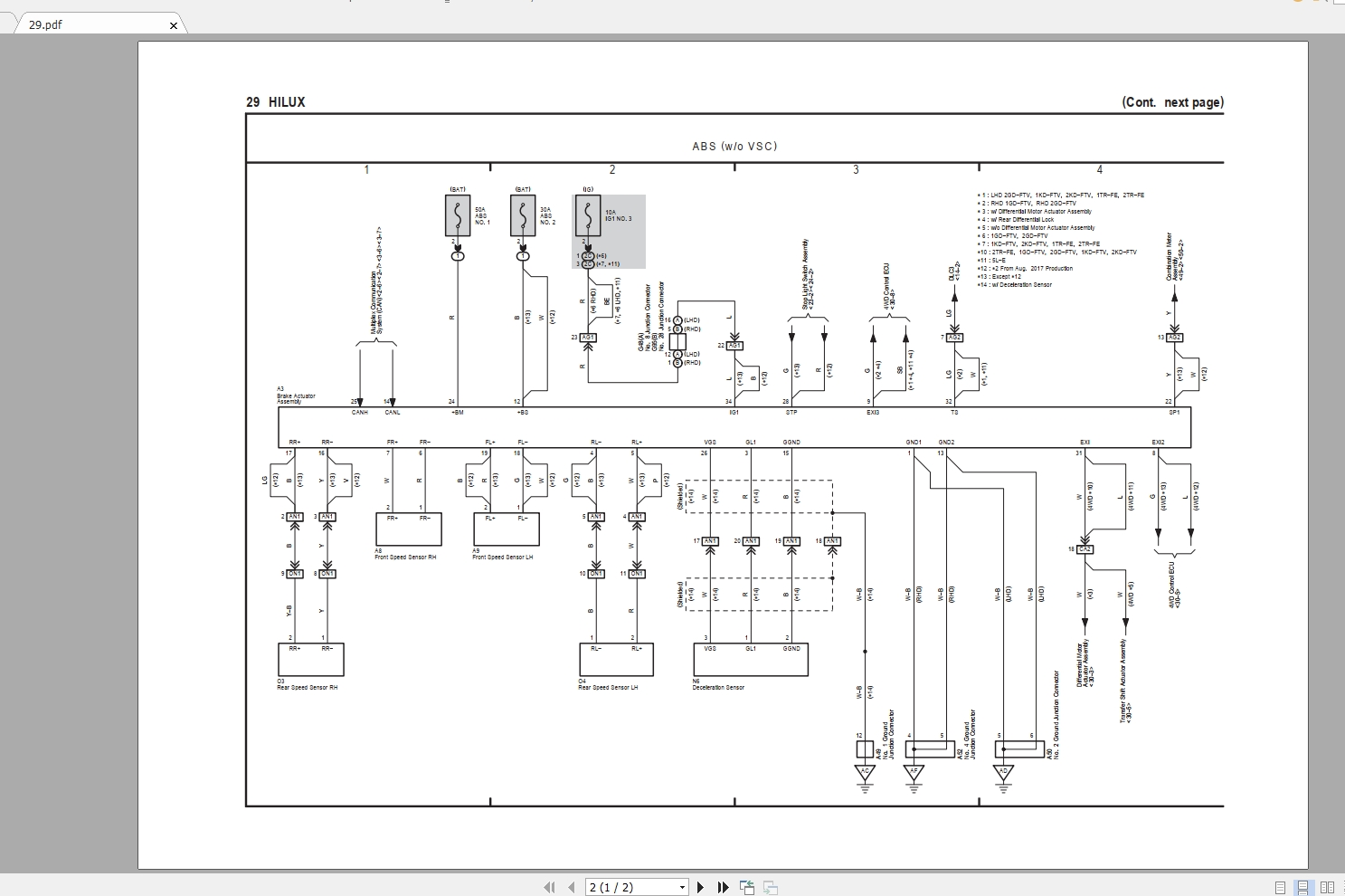 Toyota Hilux  2017 08  Electrical Wiring Diagram