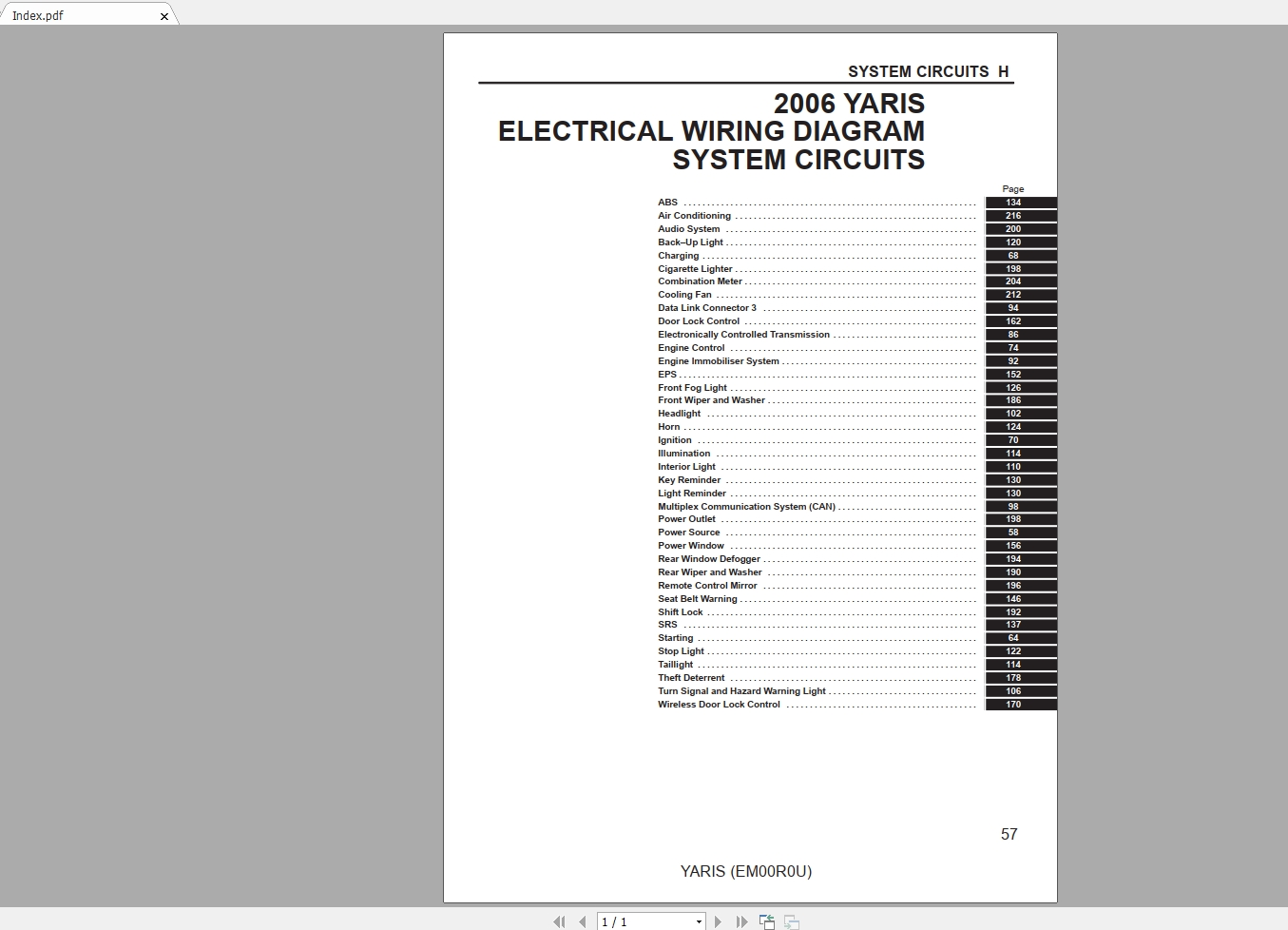 Toyota Yaris 2006 Wiring Diagram