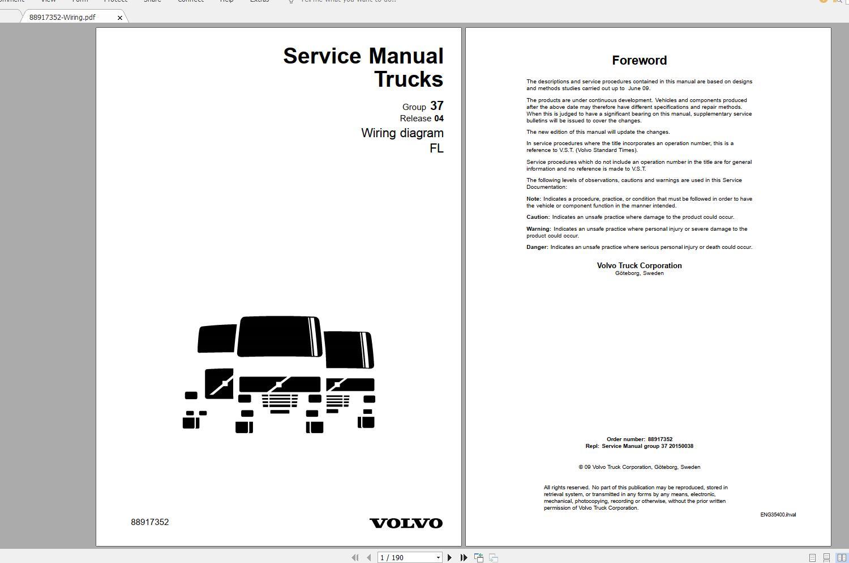 Volvo Trucks Fh4  U0026 Fm4 Euro 6 Wiring Diagrams