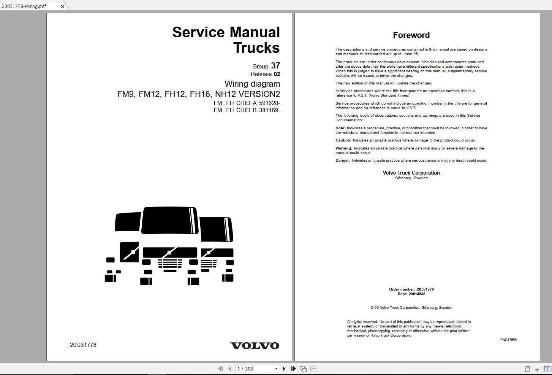 Volvo Fm12 Trucks Service Manual Buses  U0026 Wiring Diagrams