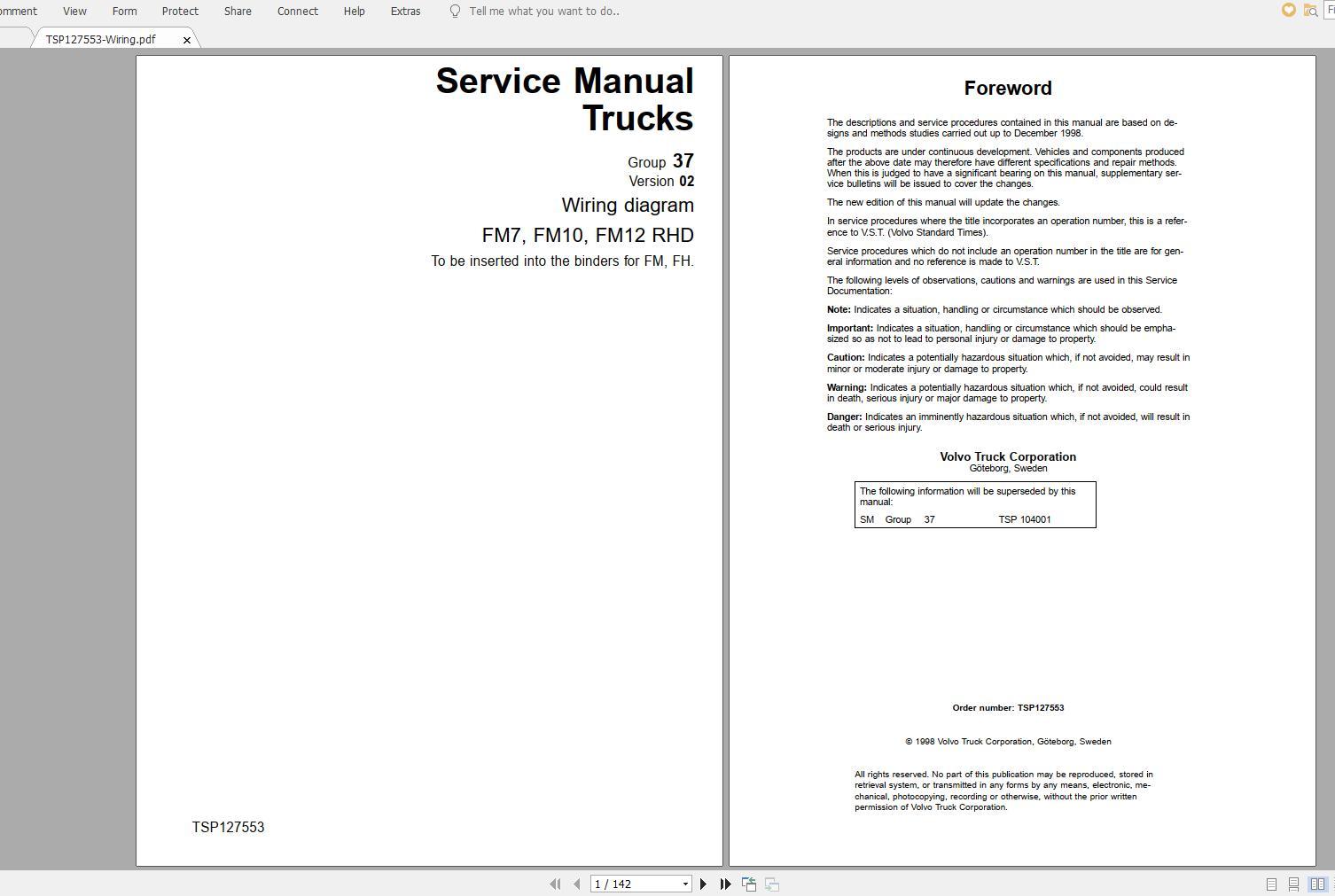 Volvo Fm7 Trucks Service Manual Buses  U0026 Wiring Diagrams