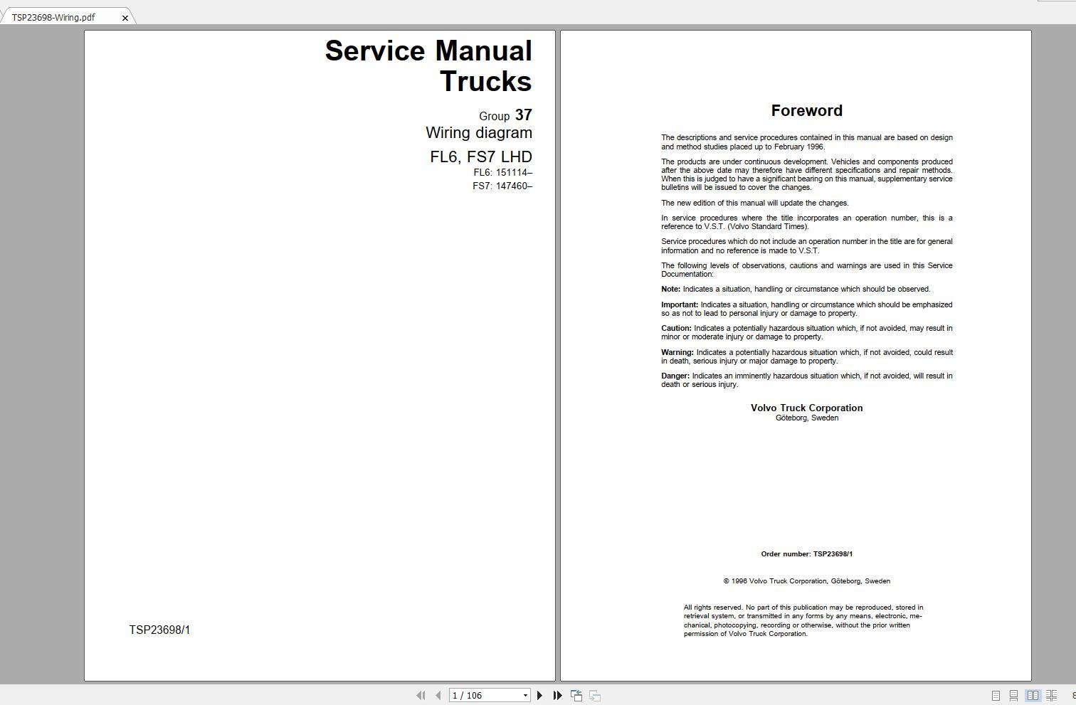 Volvo Fs7 Trucks Service Manual Buses  U0026 Wiring Diagrams