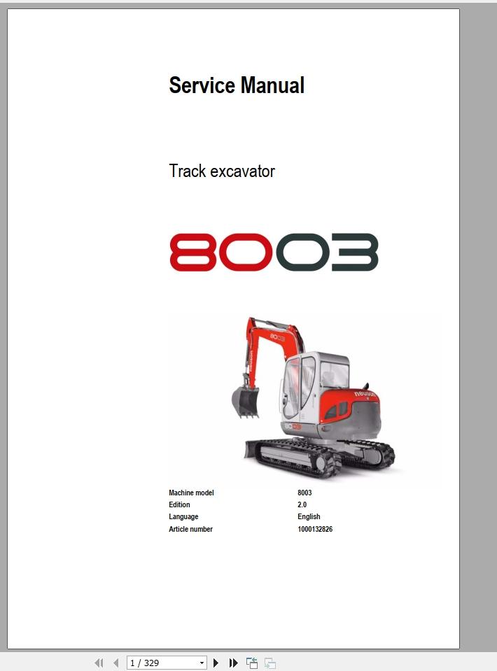 Wacker Neuson Track Excavator 8003 Service Manual