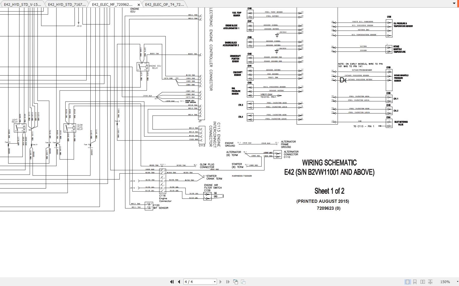 Bobcat Excavator E42 Hydraulic  U0026 Electrical Schematic