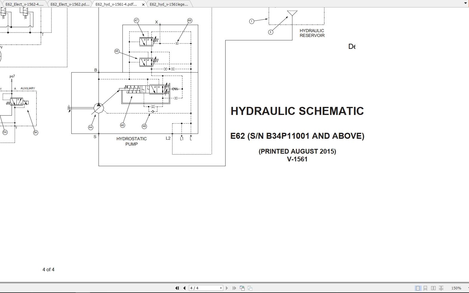 Bobcat Excavator E62 Hydraulic  U0026 Electrical Schematic