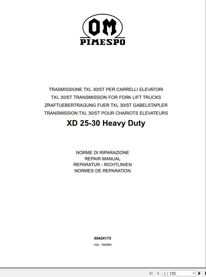 Still OM Pimespo Forklift Transmission TXL30-ST Repair Manual