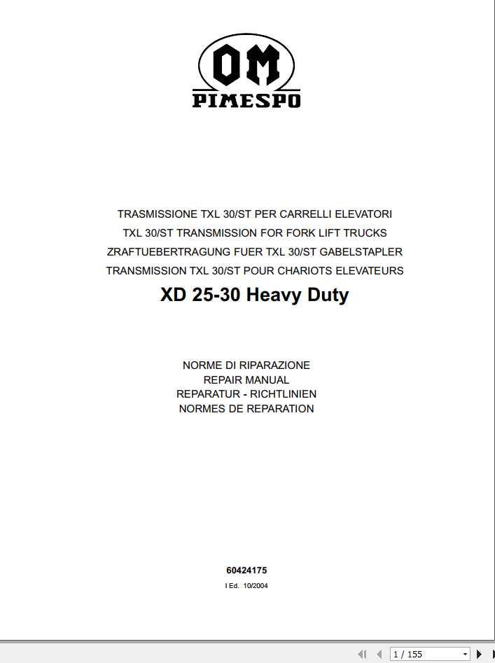 Still OM Pimespo Forklift Transmission TXL30-ST Repair Manual