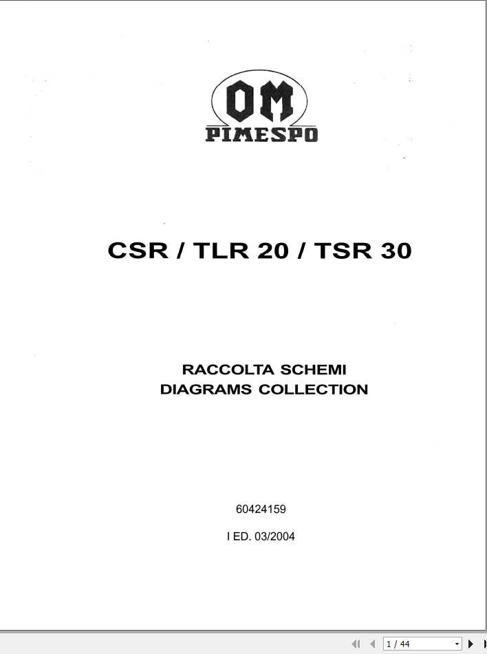 Still OM Pimespo Forklift Truck CSR, TLR 20, TSR 30 Diagrams Collection