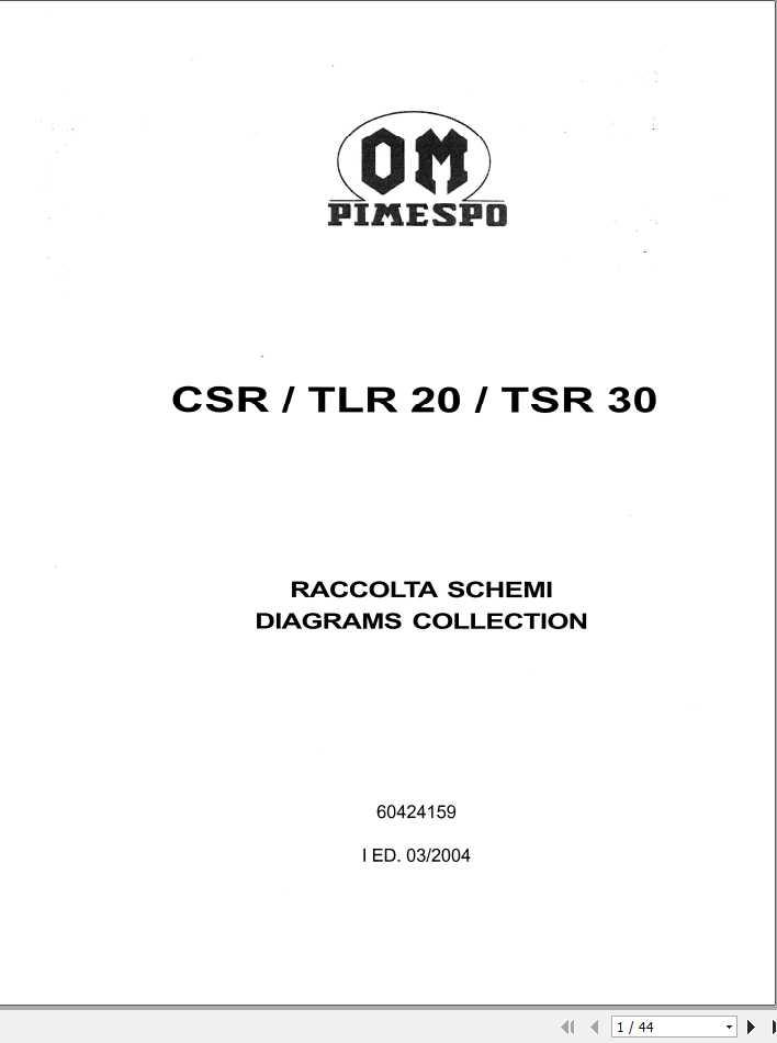 Still OM Pimespo Forklift Truck CSR, TLR 20, TSR 30 Diagrams Collection