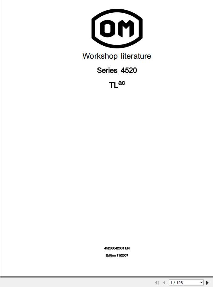 Still OM Pimespo Forklift Truck TLac Series 4520 Workshop Manual