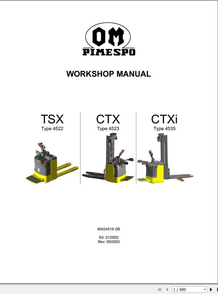 Still OM Pimespo Forklift Truck TSX (4522), CTX (4523), CTXi (4535) Workshop Manual