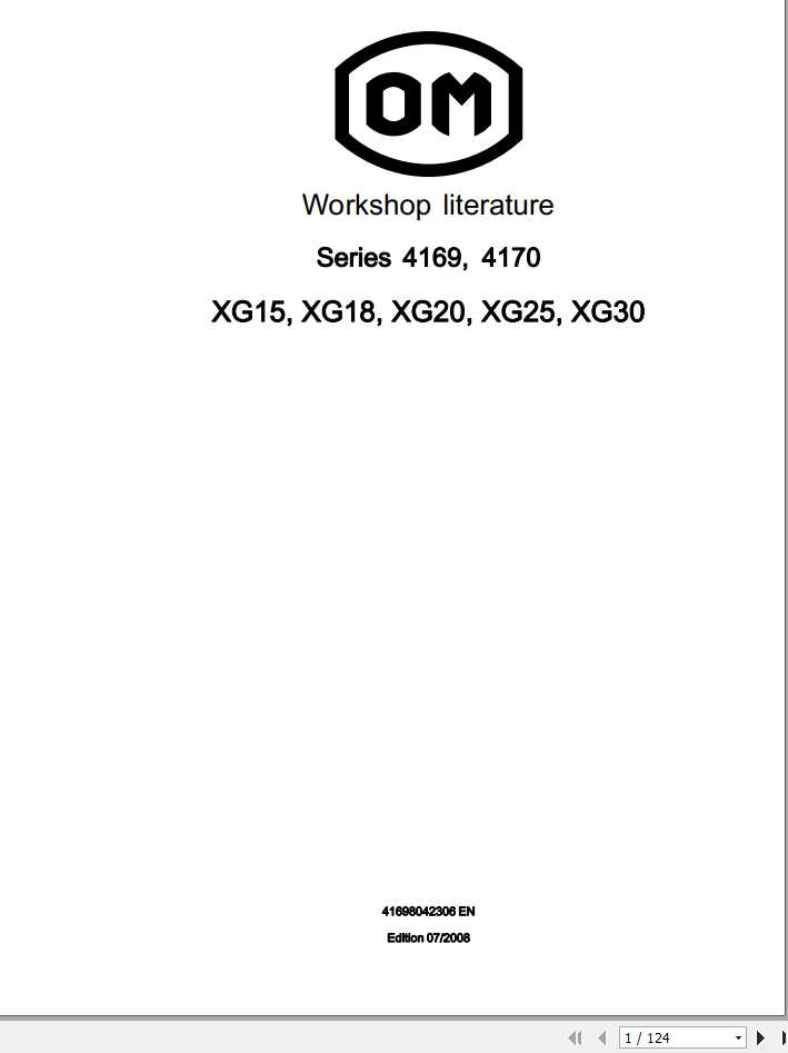 Still OM Pimespo Forklift XG15 XG18 XG20 XG25 XG30 Series 4169 4170 Workshop Manual