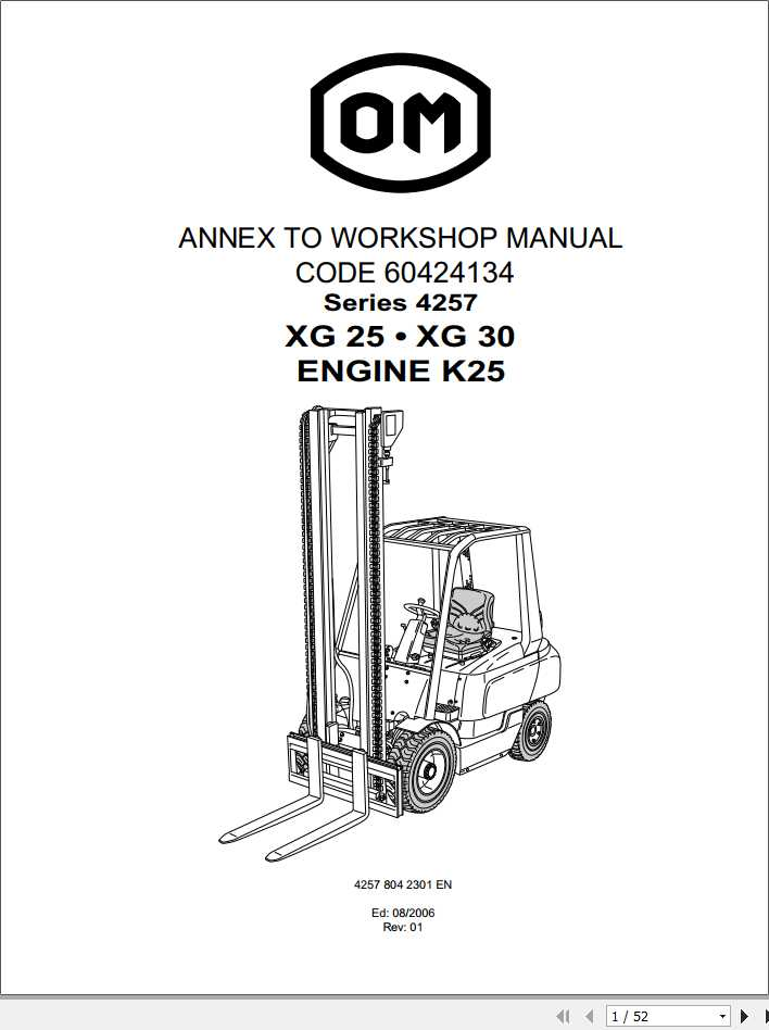 Still OM Pimespo Forklift XG25 XG30 Series 4257 Workshop Manual