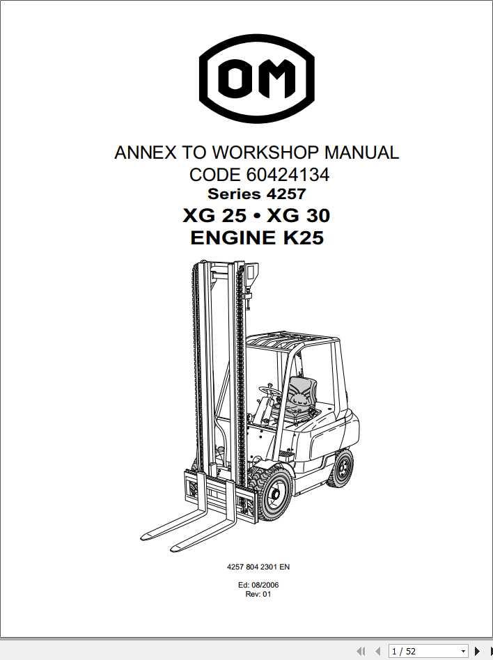 Still OM Pimespo Forklift XG25 XG30 Series 4257 Workshop Manual