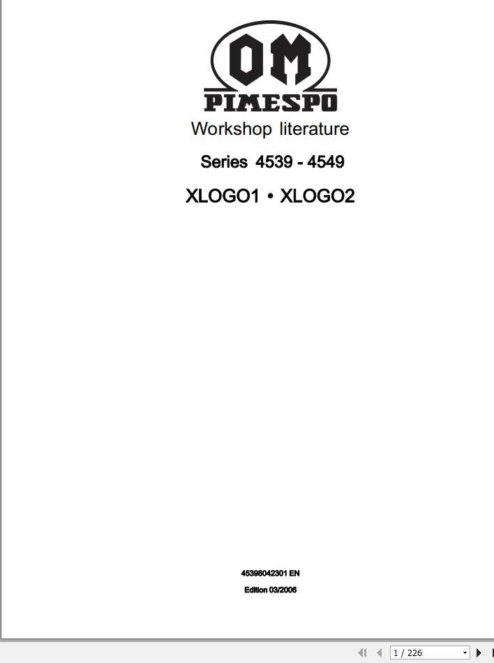Still OM Pimespo Forklift XLOGO1 XLOGO2 Series 4539-4549 Workshop Manual