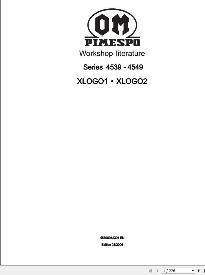 Still OM Pimespo Forklift XLOGO1 XLOGO2 Series 4539-4549 Workshop Manual