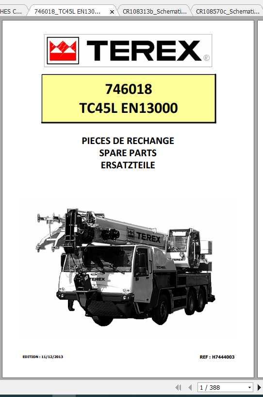 Terex Demag Mobile Crane 746018 TC45 TC45L EN13000 Shop Manual_FR_EN-2013