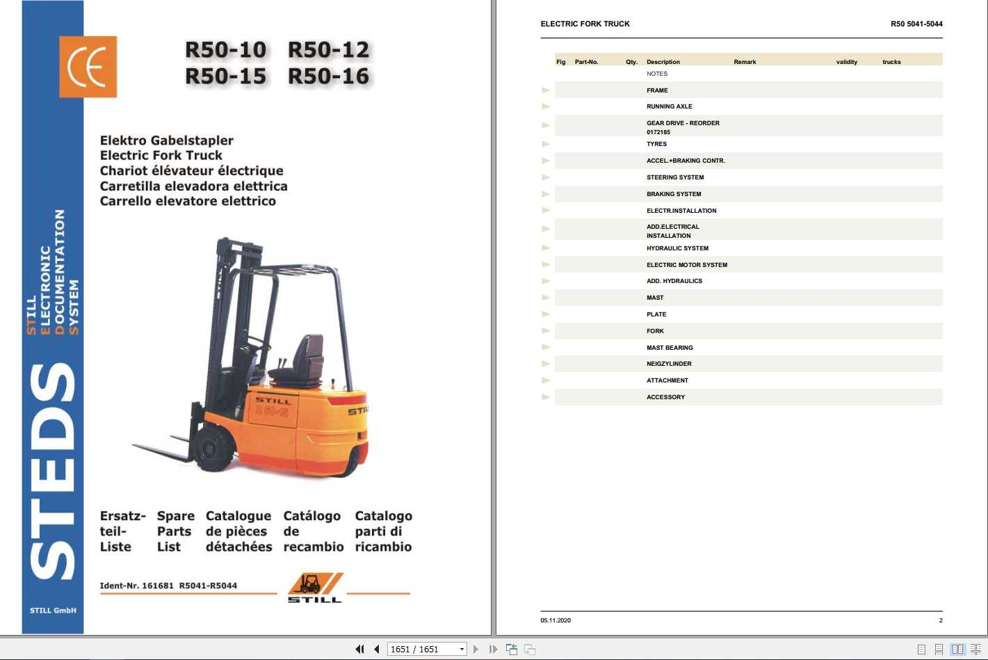 Still Electric Forklift Truck R50 10-12-15-16 Spare Parts List