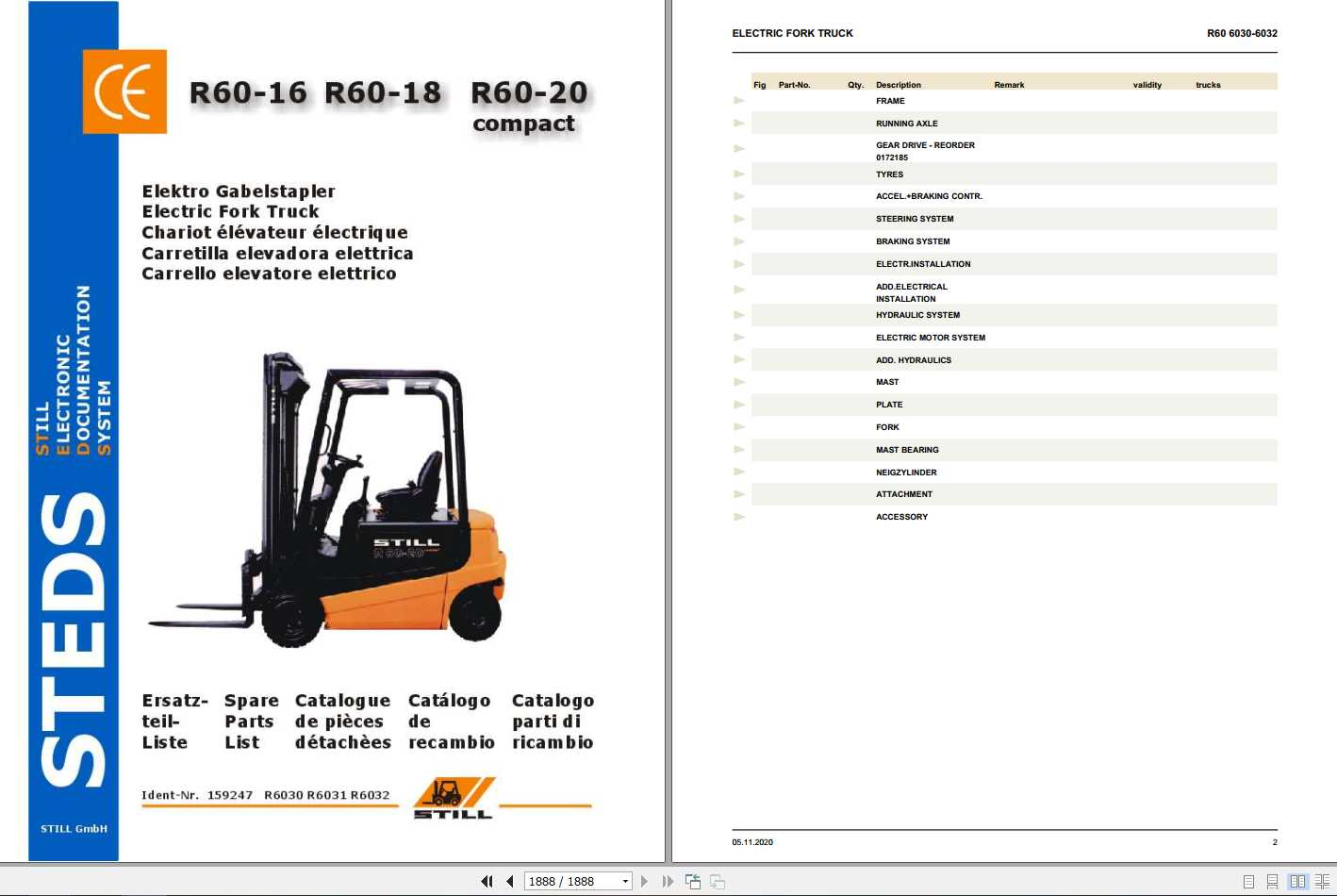Still Electric Forklift Truck R60 16-18-20 compact Spare Parts List