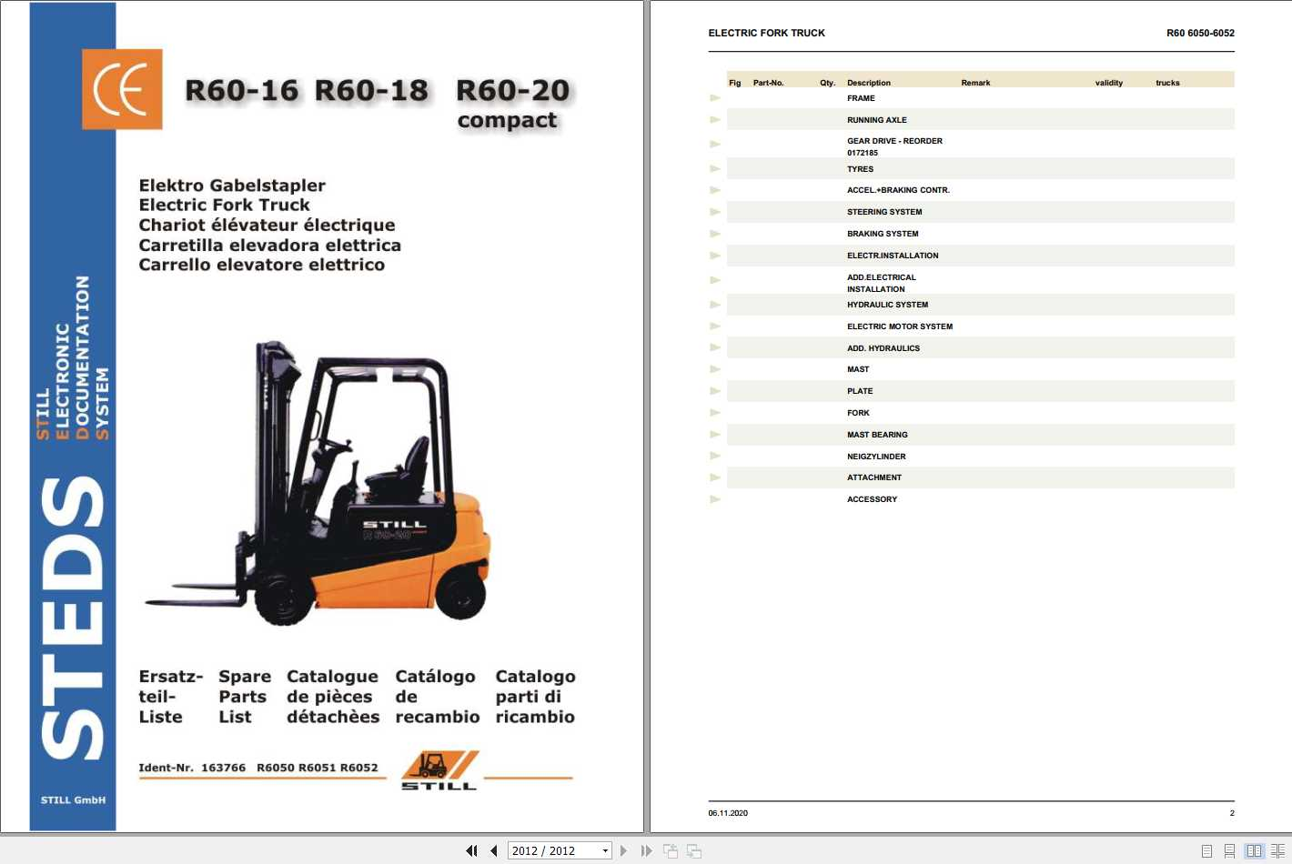 Still Electric Forklift Truck R60 16-18-20 compact Spare Parts Lists