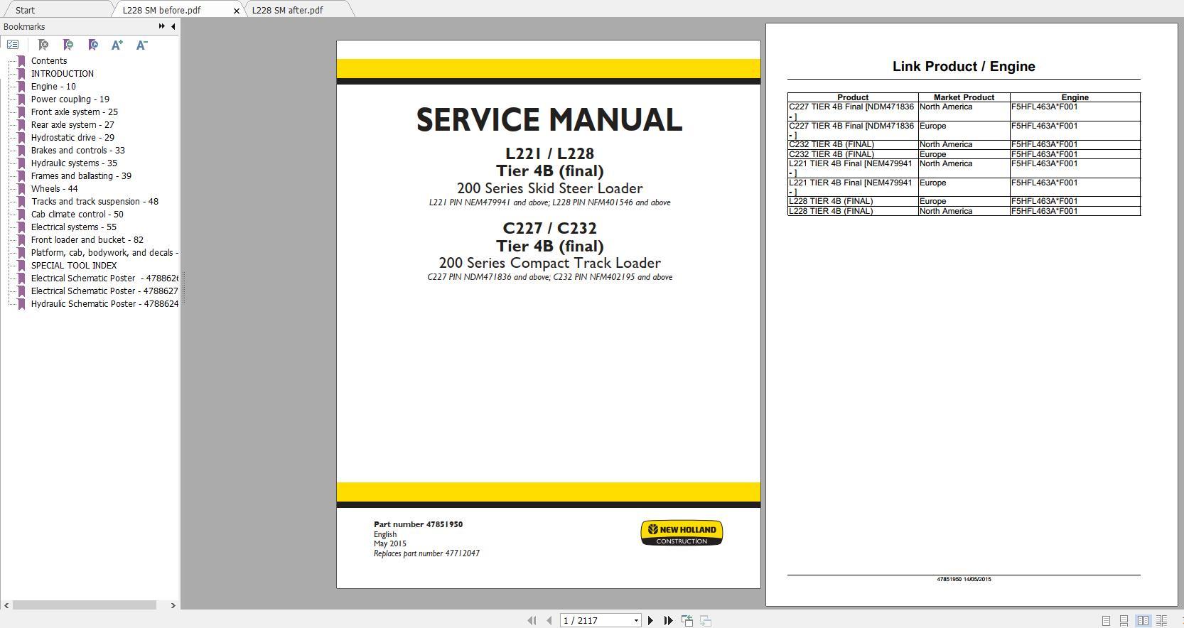 New Holland Skid Steer Loader L221 – L228, C227 – C237 Tier 4B(Final) Service Manual